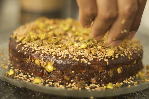 Date Cake with Pistachios & Sesame Seeds