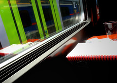 Eurostar (GrizzlyPanda) Tags: reflection window yellow train glare sill eurostar notepad sonydscw150