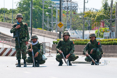 Soldiers prepare to fire on red shirt protesters, Rama IV, Bangkok