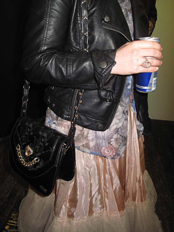 Soft silk or satin dress, floral top & black leather jacket and bag