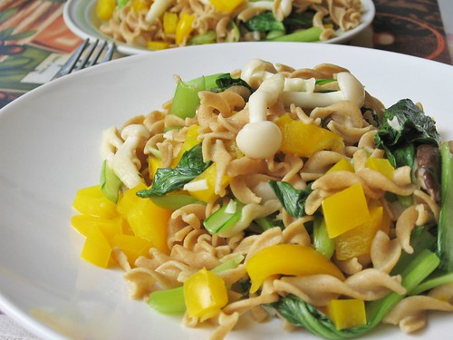 Bell Peppers, Bok Choy and Mushrooms Pasta ~ Teczcape-An Escape to ...