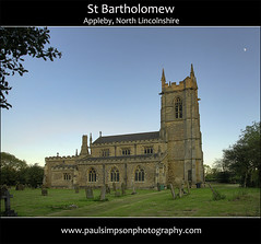 St Bartholomew, Appleby (Paul Simpson Photography) Tags: uk england moon tower church graveyard evening god stonework religion jesus headstones churchtower gb churchyard hdr appleby eveninglight themoon stonebuilding humberside ukchurch photomatix northlincolnshire englishchurch religiousbuilding northlincs southhumberside moonandbuilding paulsimpsonphotography
