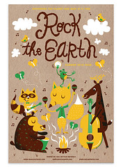 Rock the Earth Illustration (tad carpenter) Tags: bear camping summer art nature illustration print design deer campfire fox silkscreen characters raccoons rocktheearth tadcarpenter