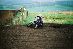 Scottish Youth Motocross at Shiplaw (BazzaStrae) Tags: film sport race canon mud kodak helmet racing 100 a1 ektar mortorcycle
