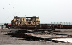 Hastings Pier (melita_dennett) Tags: uk england building rot abandoned architecture fire sussex coast pier seaside decay down save east coastal burnt damage restoration hastings campaign destroyed burned