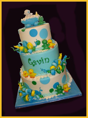Frog & duck baby shower cake