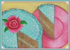 100 Days of Summer ~ Day 15 ~ Aqua Vanilla Buttercream Frosted Milk Chocolate Cake Painting (Pinks & Needles (used to be Gigi & Big Red)) Tags: pink red art cake painting aqua girly feminine cottage polkadots frosting shabby pinkplate gigiminor pinksandneedles originalartwrk