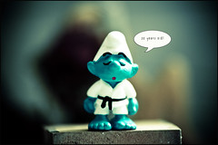Martial Art Smurf to... (manlio_k) Tags: vintage toy dof belgium martialart bokeh belgian smurf frontpage mybirthday hdr puffo penblwyddhapus infinestyle