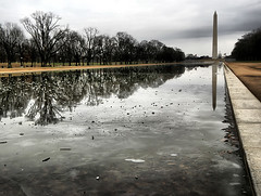 DC Reflections (` Toshio ') Tags: trees usa ice clouds america mall bench washingtondc frozen dc washington path perspective sidewalk capitol nationalmall lincolnmemorial washingtonmonument inauguration reflectionpool toshio capitoldome icebubbles anawesomeshot aplusphoto karmanominated