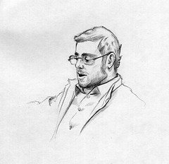 (RobReyArt) Tags: portrait man guy art pencil beard glasses sketch airport drawing bust graphite robrey