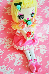 Honeybunch (boopsie.daisy) Tags: pink cute vintage doll sweet handmade inspired kitsch valentine plush homemade blonde daisy valentines boopsie boopsiedaisy