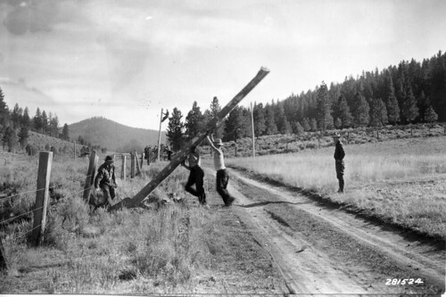 CCC crew erecting telephone line, Fremont National Forest, Oregon