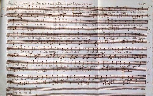 018- Códice Trujillo-partitura Allegro tonada la Donosa a voz y Bajo para bailar Cantando-T2-E182
