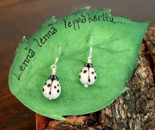 White Ladybird earrings