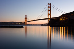 Golden Gate Bridge (AGrinberg) Tags: sf sanfrancisco longexposure bridge reflection lights golden evening bay gate dusk cove marin calm explore goldengatebridge horseshoe 24105 ggnra fortbaker goldengatenationalparks ggb ftbaker 13seconds 51209ggbfb