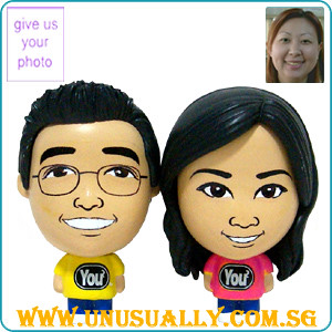 Custom Caricature Big Head Mini Couple Doll (Yellow & Pink)