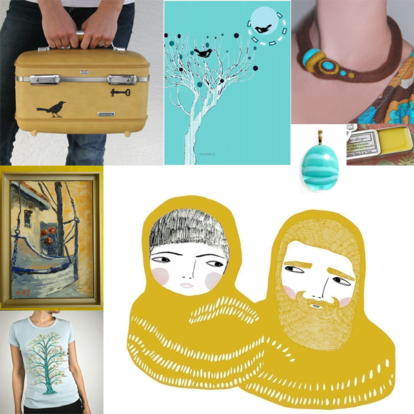 Friday I'm In Love - Vintage Teal and Mustard