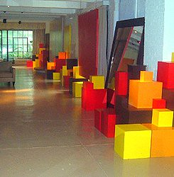 Art Installation by Jacques Rosas, cubes, risers, Museum quality riser rentals, Design space at Shop Studios