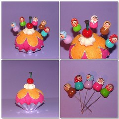 Set of Pincushion (Felt) and 5 Babushka / Matryoshka / Russian doll Sewing Pins (Polymer Clay) (yifatiii) Tags: flower ceramica cake cherry miniature cupcakes pc acrylic pin sweet handmade chocolate sewing cream mini sew felt polymerclay fimo biscuit cupcake gift present icing sculpey bolo accessories pincushion etsy muffin pino liquid topper kleiner tls dollhouse gateau kuchen kato varnish gteau plastica premo polyclay katto ceramicaplastica pastesintetiche coldporcelain diminuto prosculpt sewingpins kupkake arcillapolimerica arcillaspolimericas cuttlebug arcillaspolimricas porcelanaenfro pintoppers yifatiii liquidpolymerclay sewingpin porcelanaenfrio sewingpinstopper longmetalsewingpins
