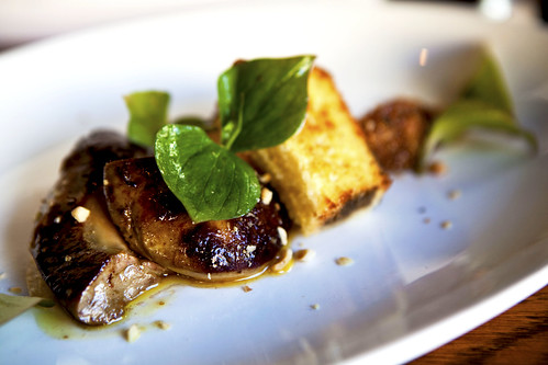 Roasted foie gras, close up