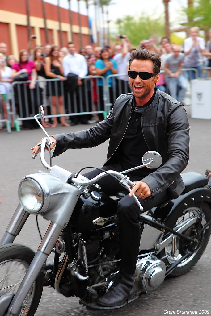 "Hugh Jackman ""Wolverine"" turning his Harley towards the red carpet in Tempe AZ"