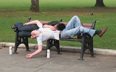 The Morning After (furryzombie) Tags: stella sleeping men drunk bench bristol hugging mud candid hangover jeans asleep passedout embrace beercans collegegreen embracing snuggled menhugging mensleeping