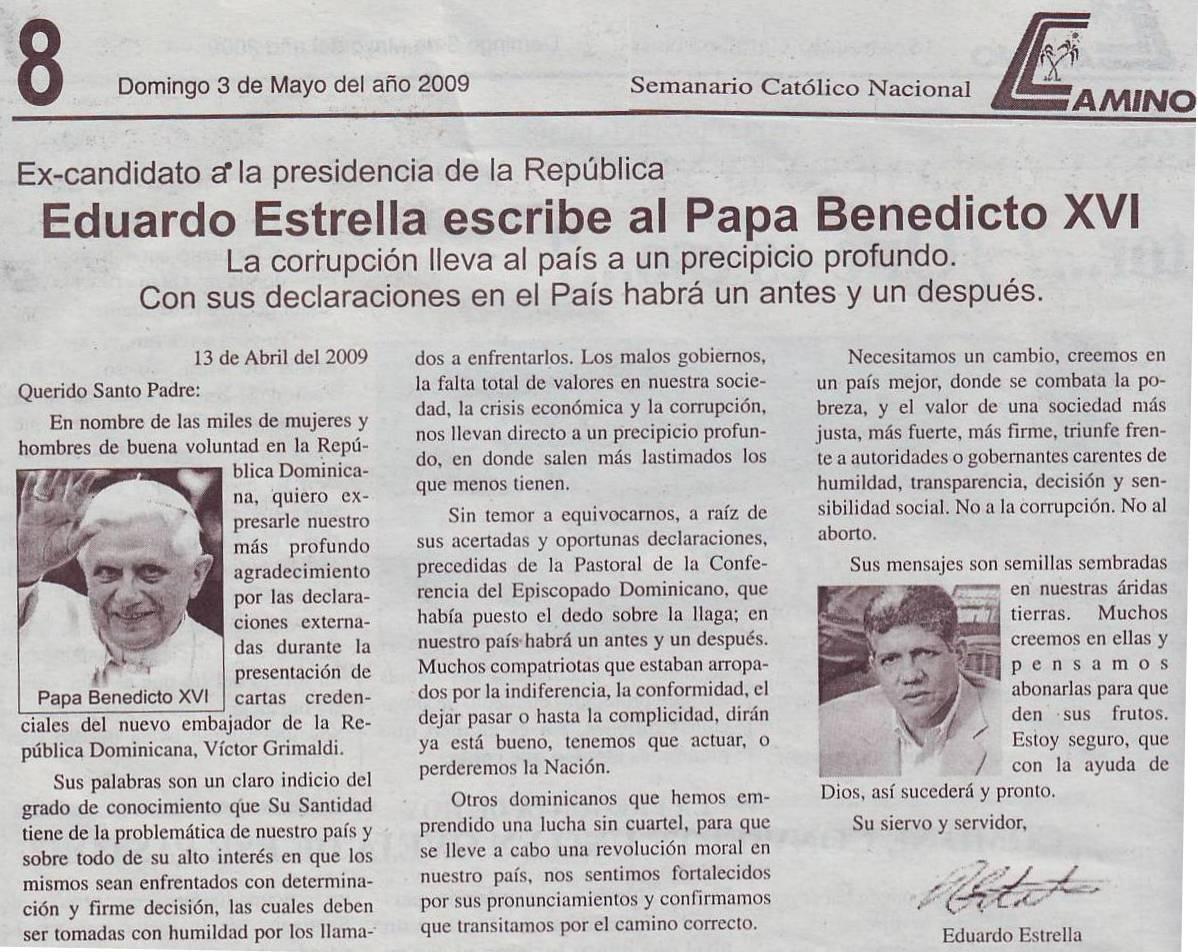 Semanario Camino: Eduardo Estrella escribe al Papa Benedicto XVI
