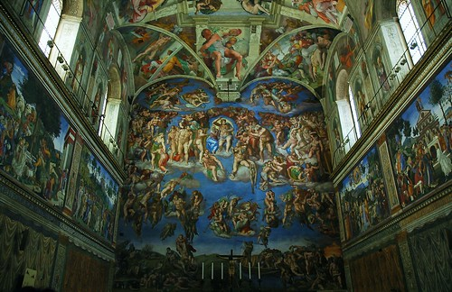 The Last Judgement by Michelangelo in the Sistine Chapel