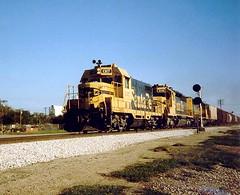 ATSF Freight Northbound Up Broadway Ave. Wichita, KS.  8/1986. (timdcarman) Tags: railroad santafe kansas wichita atsf