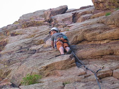 Jim in Crux Section of Breezy (5.6)