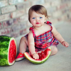 watermelon baby (jaki good miller) Tags: red baby childhood interestingness blueeyes watermelon explore littlegirl jakigood top500 explored