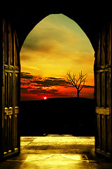 Framed Sunset (KY-Photography) Tags: road door uk blue light sunset shadow red sky orange sun ontario canada tree art rain silhouette yellow architecture night clouds photoshop dark golden design scotland nikon gate europe arch glasgow ky gothic guelph creative brush medieval creation frame gb imagination layers cloister nikkor magical fp khalid westend kel