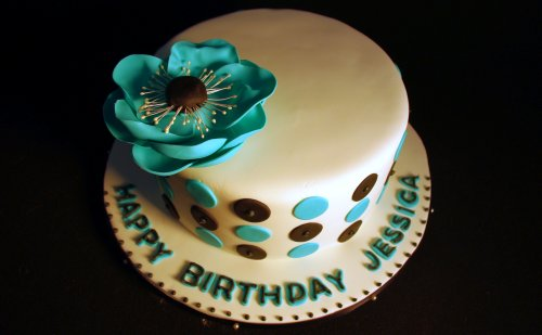 Polka Dots and Anemone Birthday Cake #3