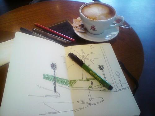 sketching banegårdspladsen