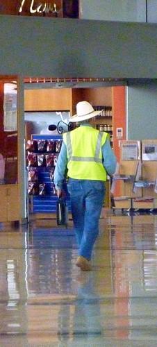 10 gallon hat and a hi viz vest  thats texas   austin