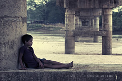 little moments! (Tahsin Hossain) Tags: life bridge water rural river kid sand nikon alone sitting child gloomy lifestyle 18200 bangladesh lonlyness d90 netrokona tahsin birishiri
