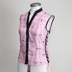 Pink Skull Pinstripe Shirt - Side Front