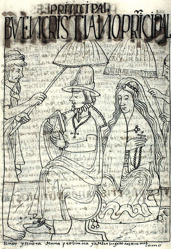 A local Andean lord and his wife, from the Book of Guaman Poma