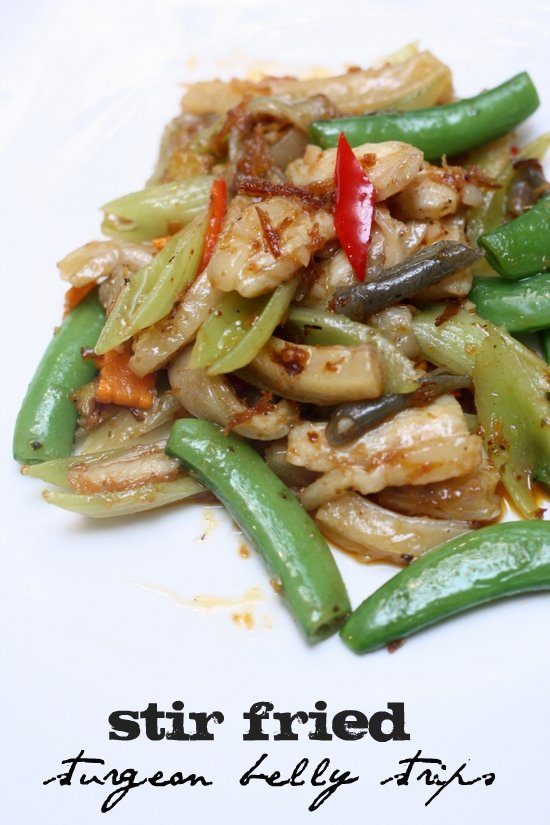 stir fried sturgeon belly strips3