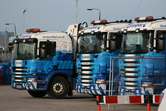 Three Stobart Rail Scania's at Carlisle (60044) Tags: blue 2 cat lily jean nicola engineering rail melissa civil depot eddie wad carlisle scania engineers 340 bnb bna stgo rv14 r560 stobart px58 rv232 rv233 gd51