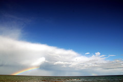 Rainbow (geoftheref) Tags: ocean christmas new travel our sea newzealand summer vacation sky holiday slr water clouds island rainbow nikon space south year zealand nz otago dslr aotearoa d80 ourspace geoftheref theunforgettablepictures ourspacenz