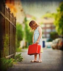 urban (Lisa Rsten  |  Fotografix Studios) Tags: urban color texture girl oslo norway bokeh suitcase nikond3 texturebyghostbones