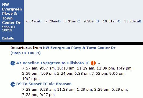 Line 89 schedule vs. the trip planner