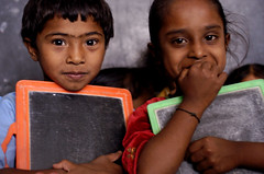 Children Reading Pratham Books and Akshara