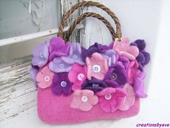 flowers bag (5) (creationsbyeve) Tags: pink flowers bag europe purple felting handmade buttons crafts felt greece homemade handcrafted etsy artisan crafting esty handfelted handmadegifts handcraftedgifts europeanstreetteam creationsbyeve etsygreekteam