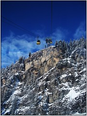 Going up... (crafteelady) Tags: blue trees winter sky white mountain holiday snow austria tirol rocks cablecar gondola tyrol rugged mayrhofen penken penkenbahn