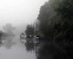 Early morning mist (River Avon) (meonere) Tags: uk england mist river bristol landscape geotagged boats eerie rivers riverboat avon waterways waterreflection morningmist barges riveravon hanham calmwater southgloucestershire flatwater earlymorningmist mistyriver greatphotographers rivermist riverfog foggyriver uklandscapes calmriver rnbbristolavon bristollandscapes