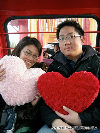 Cheesy heart-shaped cushions found in the ferris wheel cabin