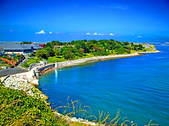 The Nothe from clifftop (Alex Healey) Tags: blue sea green beach sand yacht scenic coastal dorset weymouth jurassiccoast nothe scenicwater britishseascapes alexhealey