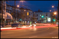 Light Trails on Main (Steve Rosset) Tags: road street city light urban cars vancouver buildings geotagged lights movement traffic dynamic dusk vibrant main gritty tagged trail geo streetscape steverosset steverossetphotography